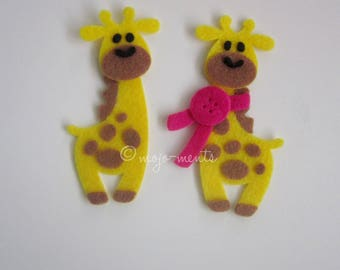 Felt Giraffe Die Cuts - Pack of 5 - Assembled and Ready To add Straight On To Your Projects
