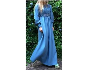 1970s liberty floral Blouson Sleeves MAXI DRESS // size eu 38-uk 10-us 6