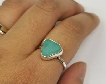 Aqua Sea Glass Sterling Ring Size  7