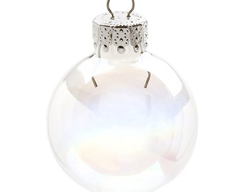 Mini Iridescent Glass Ball Ornaments 35mm (1.38 inches) x 20 pieces  2610-60