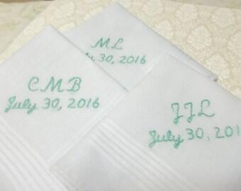 set of 3 /  Groomsmen gifts, fiancee gift,  groom handkerchief, wedding handkerchief, hand embroidered, attendant , colors welcome, bride