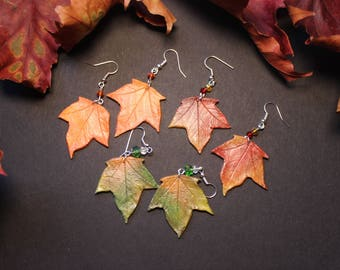 Autumn Leaf Earrings, Fall leaves, Leaf Jewelry, Autumn Jewellery, Fall Jewelry, Halloween, Wicca, Pagan Gift, Leaf Gift, Leaf Accessory