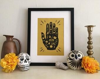 Mano con Ojo (Hand w/Eye) Block Print / Hand Printed / Art Print / Folk Art