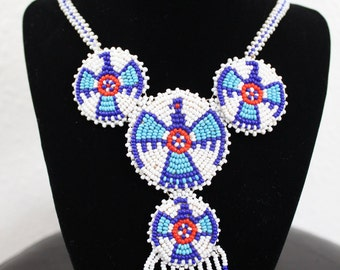 Native American Phoenix/Fire Bird, White,Blue & Red Seed Bead, Vintage,Fringe Necklace, Leather Back,Indian Necklace, Hand Beaded Necklace