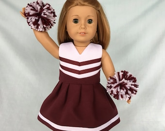 Burgundy and White Cheerleader/Cheer Dress for American Girl/18 inch doll
