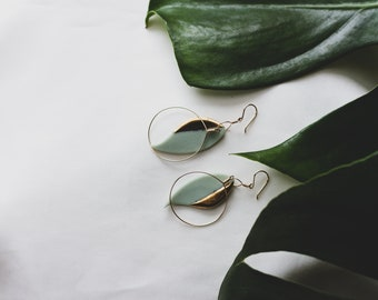 Ceramic Earrings | Leaf Earrings | Sage Earrings