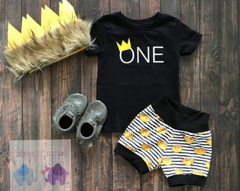 Wild things, crown shorts, wild one shorts, crowns and stripes shorts, children's clothing