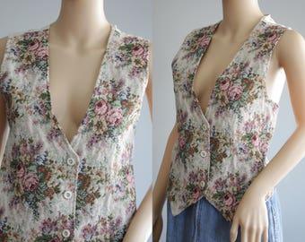 SALE - Romantic 90s Floral Vest