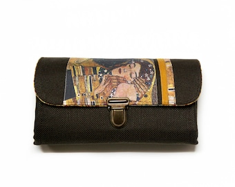 Gustav Klimt Phone Wallet Clutch Medium with Brown and Gold Fabric Art, Zipper wallet phone purse clutch - ready to ship
