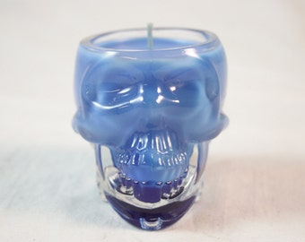 Skull Candle, Highly Scented Candle in Crystal Skull Vodka, Thick Glass, Custom Color and Scent, Halloween Decoration, Fall Decor
