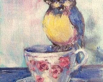 "Bluebird and teacup painting mountain bluebird original painting 7  x 5"""