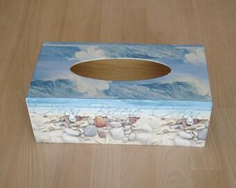 marine ocean wood tissue box