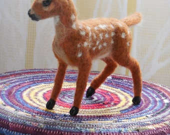 Needle felted Wool Sculpture Whitetail Deer Fawn OOAK Caskey