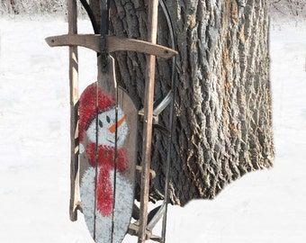 Old Wooden Sled with Painted Snowman- Winter Decor