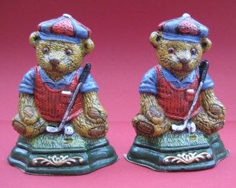 Pair Vintage weighted metal Bear-golfer bookends, Shadehill Giftware