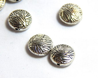 10 Flat Round Leaf Imprint Beads, Leaf Beads, Flat Leaf Beads, Nature Beads, Leaf Focal Beads, Silver Leaf Beads, 10mm Leaf Beads, A-042