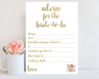 Advice for Bride-to-Be, Bridal Shower Advice Cards, Printable Wedding Advice Cards, Gold Printable, Marriage Advice Cards, Floral Sign BRSG1