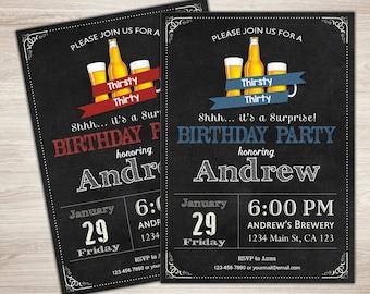 30th birthday invitation for Men. Thirsty Thirty. Cheers & Beers invitation. Surprise Birthday. Chalkboard. Big 30. DIY Printable Digital