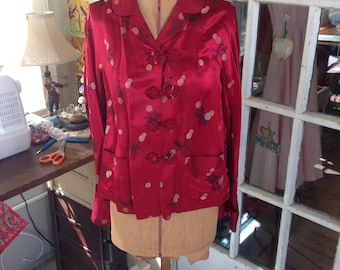 vintage 50's red Asian satin jacket