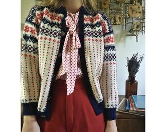 Vintage Voss Norwegian Fair Isle Knit Wool Sweater Cardigan // Size Small