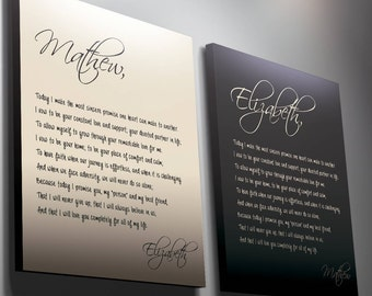 His and Hers Vows, Wedding Vows, Anniversary gift,  gift for her, husband gift, gift for him, custom calligraphy, her vows, custom canvas