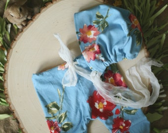 Newborn Photography Prop - Jenna Pant Set - Blue with Floral Pattern