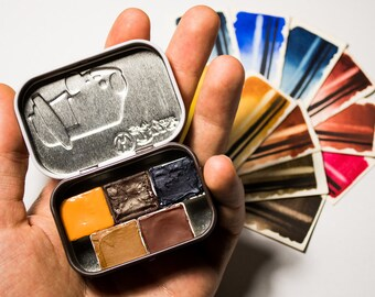 Handmade Artist Watercolour Paint Choose your own Five-Color Half-pan Mini Set Schmincke in Beautiful Tiny Metal Box Limited Edition of 3