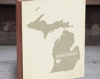 Grand Rapids Michigan - Grand Rapids Wall Art - Grand Rapids Poster - Michigan Art Work - Michigan Gift - Michigan Map Print