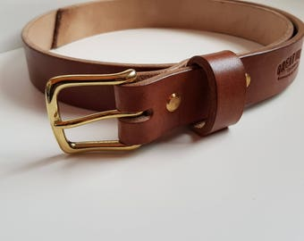 Leather Belt, Handmade In Yorkshire England, Solid Brass Buckle, Oak Bark Leather, Gift for Him, Anniversary, Birthday, Fathers Day