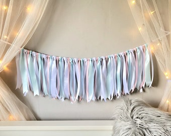 Pink White and Turquoise Blue Ribbon Garland.