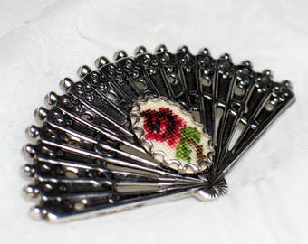 Petit Point Vintage Silver Fan Brooch with Red Rose