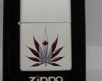 Cool Canadian Ganja Bud Pot Leaf White Zippo Lighter