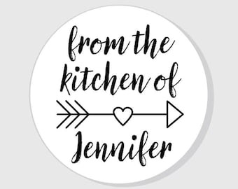 From The Kitchen Of Stickers Personalized with heart arrow - Calligraphy - 1.5 inch - 2 inch - 2.5 inch - 3 inch - Christmas - Gifts