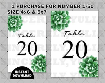 Succulent Table Number Printable || Rustic Nature Wedding || Number 1-50 || Size 4x6 and 5x7 || Digital Files || PDF || SY040