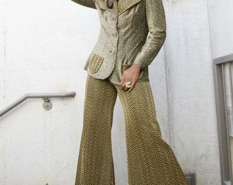 2 Piece 70's  Gold Wide Leg Pant Suit