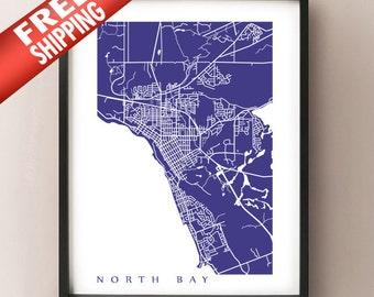 North Bay Map Print - Ontario Art Poster