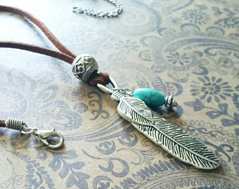 Bohemian Cord Necklace / Turquoise  Necklace / Southwestern Leather Necklace / Cord Necklace / Bohemian Jewelry