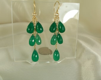 Green onyx briolettes earrings 14k gold filled gemstone handmade item 885