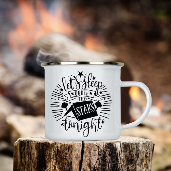 Camp Cup Let's Sleep Under The Stars Tonight Enamel Camp Mug - Dishwasher Safe