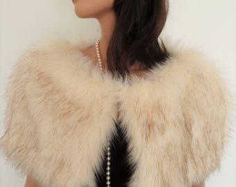 champagne fur capelet, cream fur stole, fake fur wrap, shrug, shawl, stole, cream brown fur