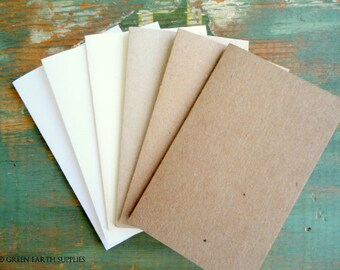 100 Blank Business Cards, Blank Gift Cards, ACEO Blanks, ACEO Cards, Gift Tags, Eco Friendly, Recycled, White, Ivory, Light or Kraft Brown