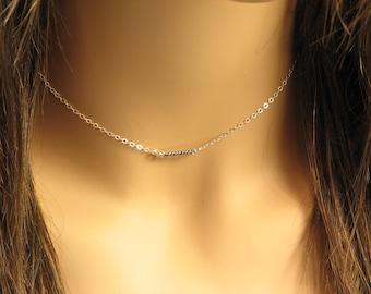 Choker Necklace Sterling Silver Bar Choker, Tiny Bar Necklace, Minimal Choker Necklace, Understated Jewelry
