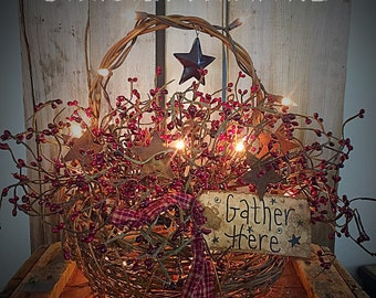 Primitive basket with cranberry berry pips - primitive - basket- wicker basket-