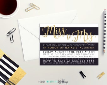 Miss to Mrs Bachelorette Party Invitation // 5x7 // Black & Gold // Last Fling Before the Ring // PRINTABLE - DIY Print