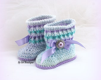 Baby Booties, New Born Shoes, Turquoise, Lilac, Aqua Blue,Crochet Booties, Baby Shoes,Baby Shower Gift, Gift for Baby, Christening,Crochet