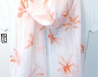 Hand Painted Silk Scarf, Floral Scarf, White Silk Scarf,  Silk Chiffon Scarf, Spring Meadow Orange Silk Scarf, 10x58 in. Made to order.
