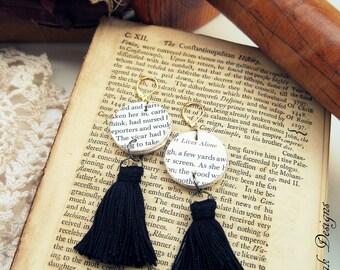 Statement earrings, Black Tassel Earrings, Fringe Earrings, Paper Tassel Earrings,Book Page Tassel Earrings, Book Page Dangle Earrings,Books