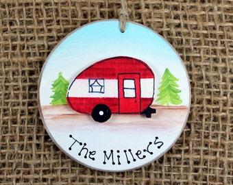 Camper Ornament~ Personalized Family Name Ornament~ Keepsake~ Vintage Camper