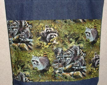 New Large Handmade Raccoon Family Wildlife Denim Tote Bag