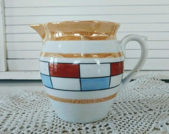 Vintage Lusterware Pitcher Southwestern Bohemian Home Decor Geometric Design Blue Red White Gold Czechoslovakian Pottery Porcelain Jug